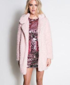shaggy fur pink coat