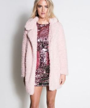 shaggy fur pink coat