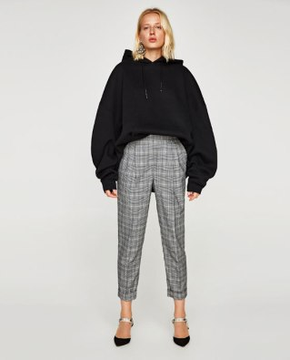 zara check trousers