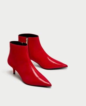 zara red kitten heel boots