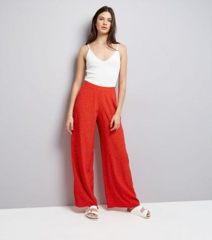 red-spot-print-wide-leg-trousers