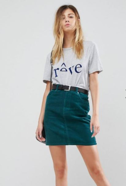 asos cord skirt emerald green