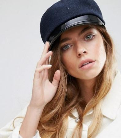 asos navy baker boy hat