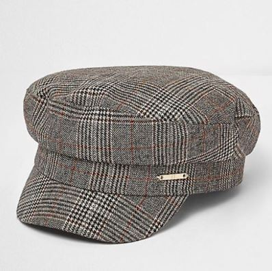 river island check hat