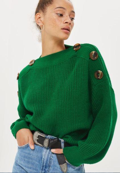 topshop button detail jumper