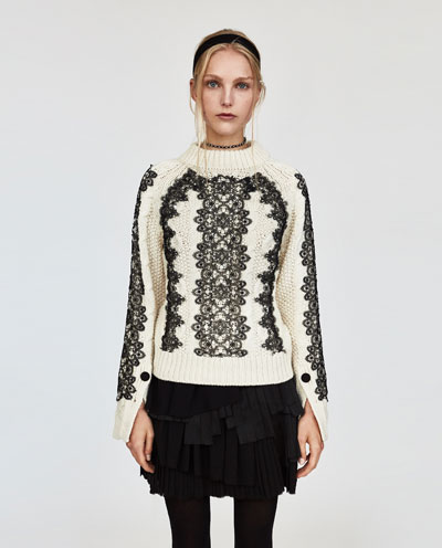 zara cable knit with lace