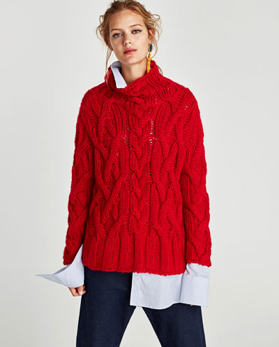 zara red cable knit sweater
