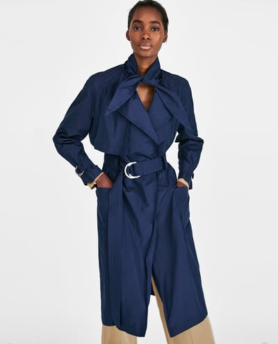 zara navy trench